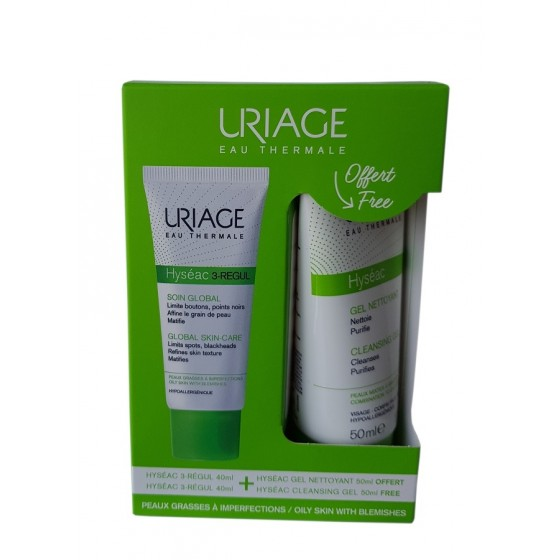 Rinkinys Uriage: Hyseac 3-Regul Global 40ml + Hyseac gelinis prausiklis, 50ml