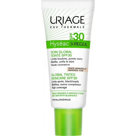 Uriage Hyseac 3-Regul Global SPF30 lengvas, toninis kremas, 40ml