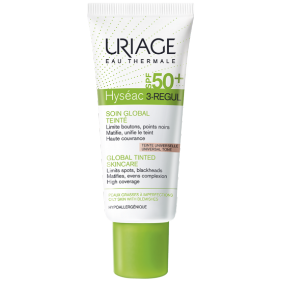 Uriage Hyseac 3-Regul Global SPF50+ lengvas, toninis kremas, 40ml